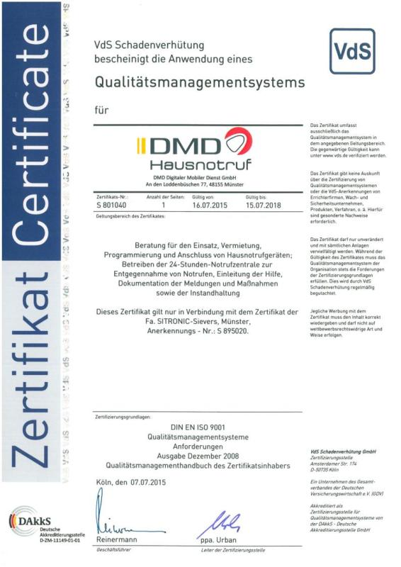 Qualitätsmanagement-System gem. ISO 9001:2008