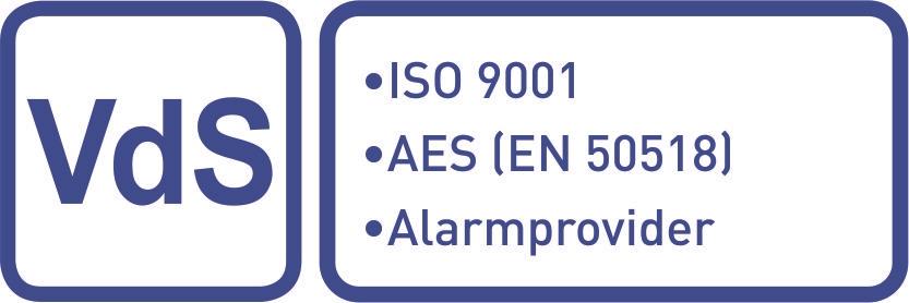 Anerkannt als Alarmprovider (AP gem. VdS 3138), Alarmempfangsstelle (AES gem. DIN EN 50518) und nach ISO 9001