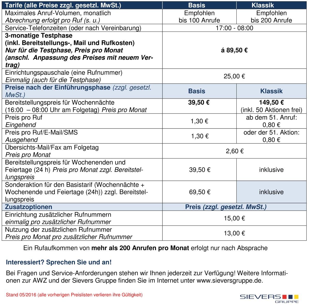 Preisliste Service- und Bereitschafts-Telefonie (Stand:05/2016)
